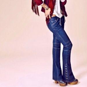 FREE PEOPLE 24 Slim Flare Button Leg Skylar Jeans